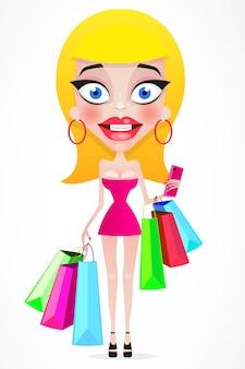 Счастливая девушка с хозяйственными сумками в магазине. покупатель. продажи. забавный мультяшный персонаж. векторная иллюстрация. изолированные на белом фоне
