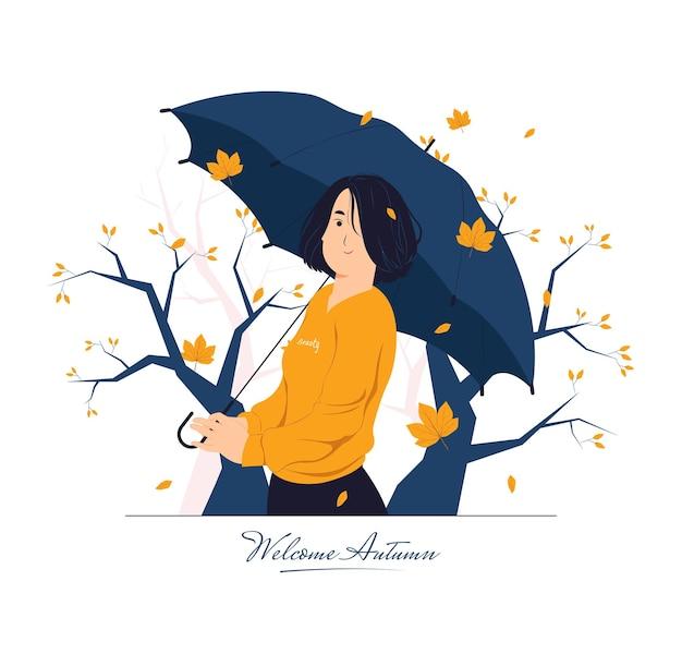 가 날 개념 그림에 우산을 가진 행복 한 소녀