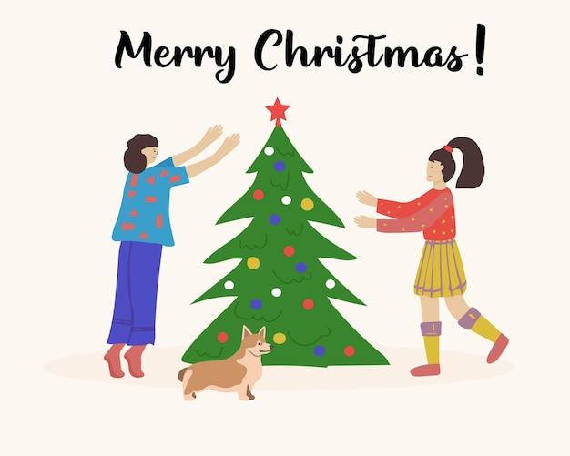 크리스마스 트리를 장식하는 행복한 여자 친구 두 명