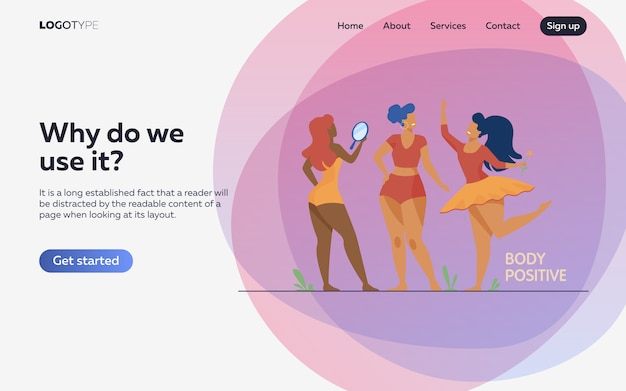 Happy girls admiring their bodies flat illustration. landing page or web template