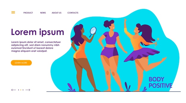 Happy girls admiring their bodies flat vector illustration. body positive female characters smiling each other. active women with plus size figures. different beauty, fashion and healthy lifestyle