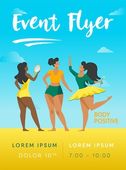 Happy girls admiring their bodies flyer template. body positive female characters smiling each other flyer template