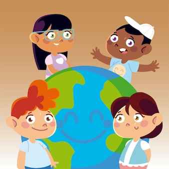 Happy girls and boys with world cartoon, children  illustration