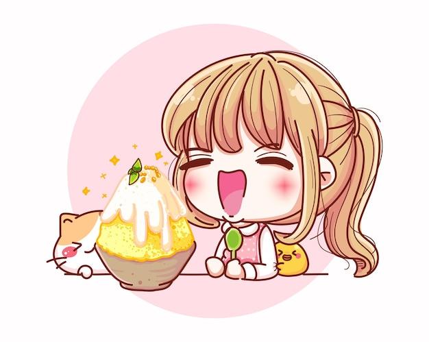 아이스크림과 만화 캐릭터 디자인을 먹는 행복 한 여자.