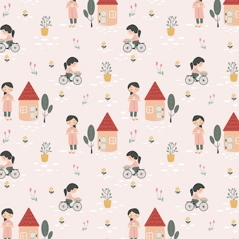 Happy girls enjoy her hobby seamless pattern