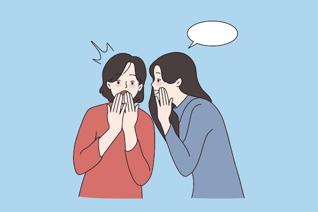 Happy girls have fun whisper in ear gossip