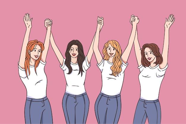 Счастливые девушки весело вместе концепция