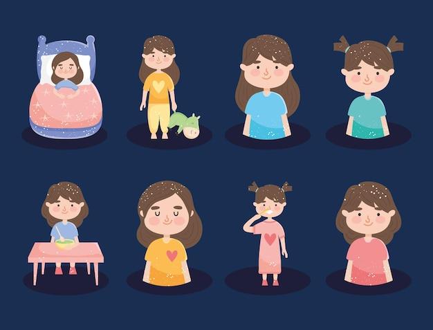 Happy girls icon set design