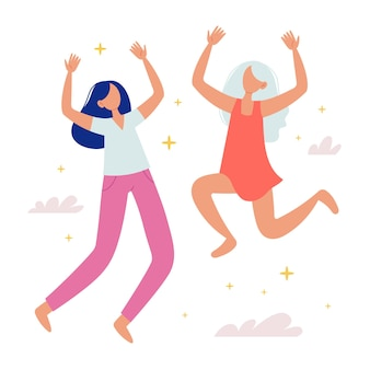 Happy girls jump up concept of success