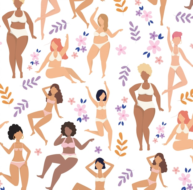 Happy girls wearing underclothes with plants pattern