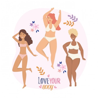Happy girls with underclothes and body posture lifestyle