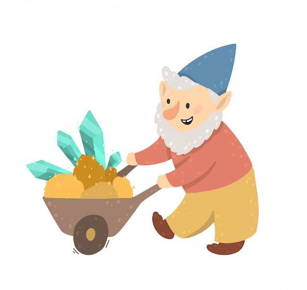 Happy gnome drags cart with crystals, precious stones, and gold