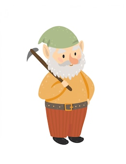 Happy gnome holding a pickaxe