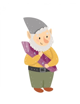 Happy gnome holds a crystal