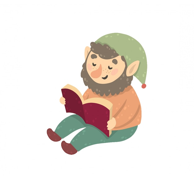 Happy gnome reading a book