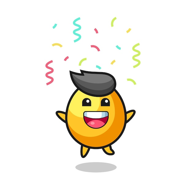 Happy golden egg mascot jumping for congratulation with colour confetti , cute style design for t shirt, sticker, logo element