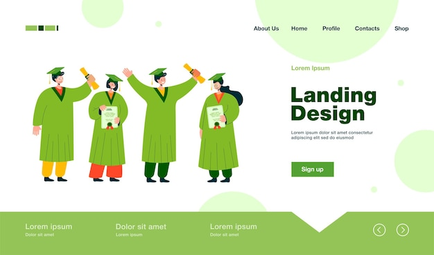 Happy graduated student standing and holding diplomas landing page in flat style