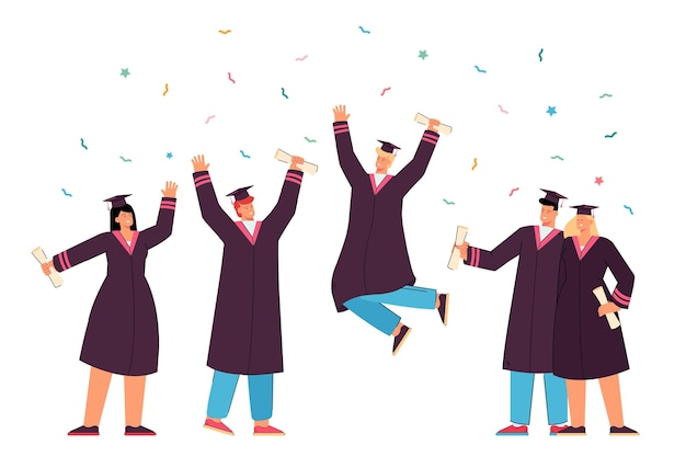Happy graduated students in gowns holding academic diplomas flat illustration