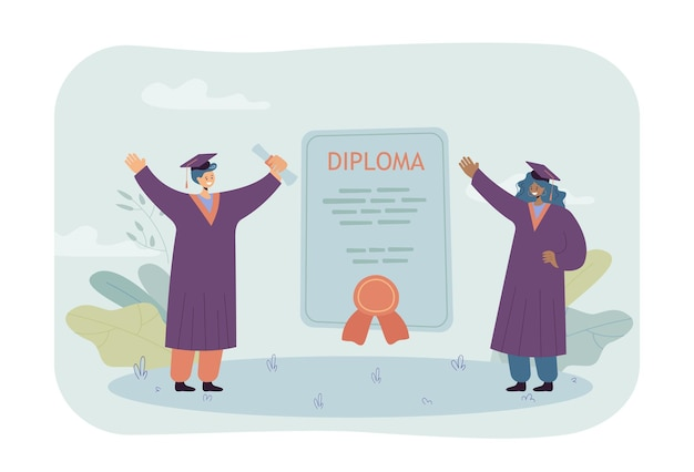 Happy graduates with huge diploma. certificate between standing female students in graduation caps flat illustration