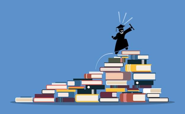 本の山の上に幸せな卒業生。知恵、知識、成功、そして教育の概念。