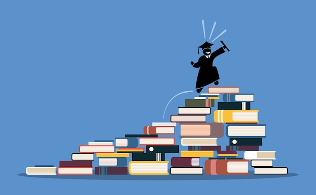 Happy graduating student on top of books pile. concept of wisdom, knowledge, success, and education.