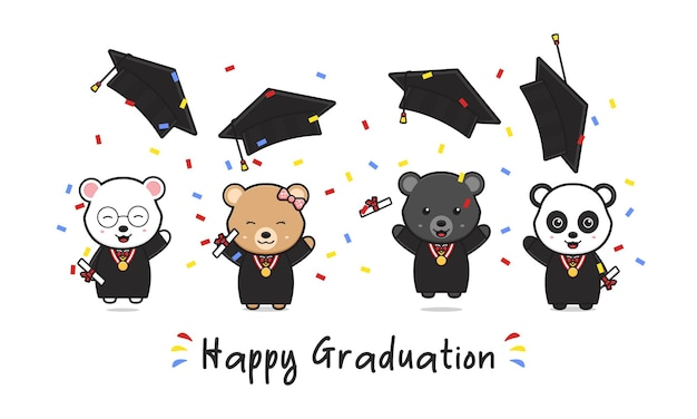 Happy graduation card with cute bear graduating doodle cartoon icon illustration design flat cartoon style