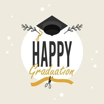 모자와 함께 행복 한 졸업 카드