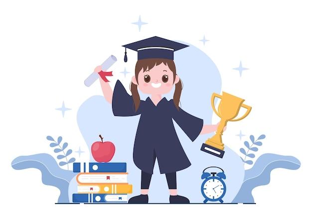アカデミックドレス、大学院の帽子を身に着け、フラットスタイルで卒業証書を保持している背景ベクトルイラストを祝う学生の幸せな卒業式の日