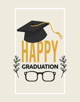 모자와 함께 행복 한 졸업 프레임