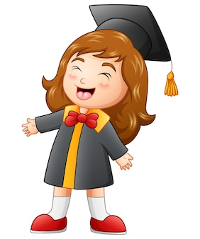 Happy graduation girl cartoon