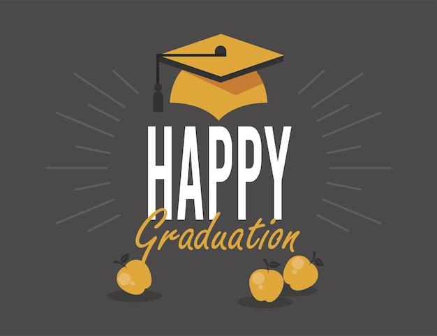 황금 모자와 함께 행복 한 졸업 엽서