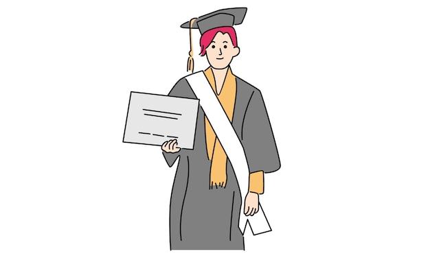 幸せな卒業女性
