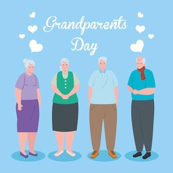 Счастливый день грандиозных родителей с милыми старые люди иллюстрации конструкции