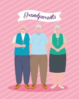 귀여운 노인 일러스트 디자인으로 행복한 그랜드 부모의 날