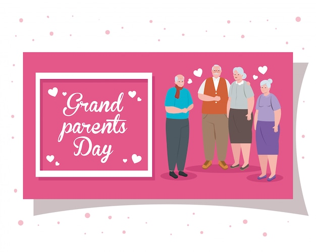 Happy grand parents day with cute old people illustration design
