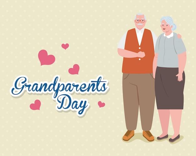 Счастливый день бабушек и дедушек с милой более старой парой и дизайном иллюстрации украшения сердец