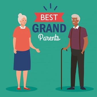 귀여운 세 커플과 최고의 그랜드 부모 벡터 일러스트 레이 션 디자인의 글자 장식 해피 그랜드 부모의 날