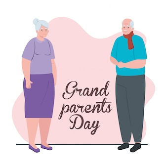 귀여운 세 커플 일러스트 디자인으로 행복한 그랜드 부모의 날