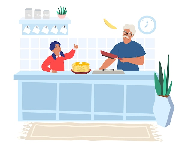 Счастливый дедушка готовит блины с внучкой, плоской иллюстрации. отношения между бабушкой и дедушкой и внуками.