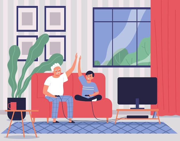 Happy grandfather playing video games on console with his grandson in living room flat illustration