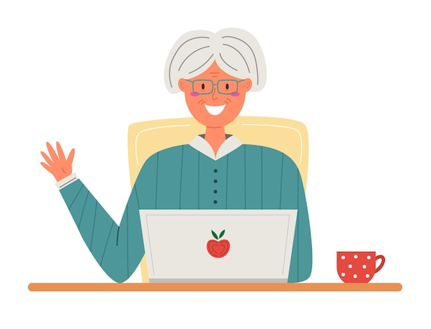 Happy grandma with laptop in flat style