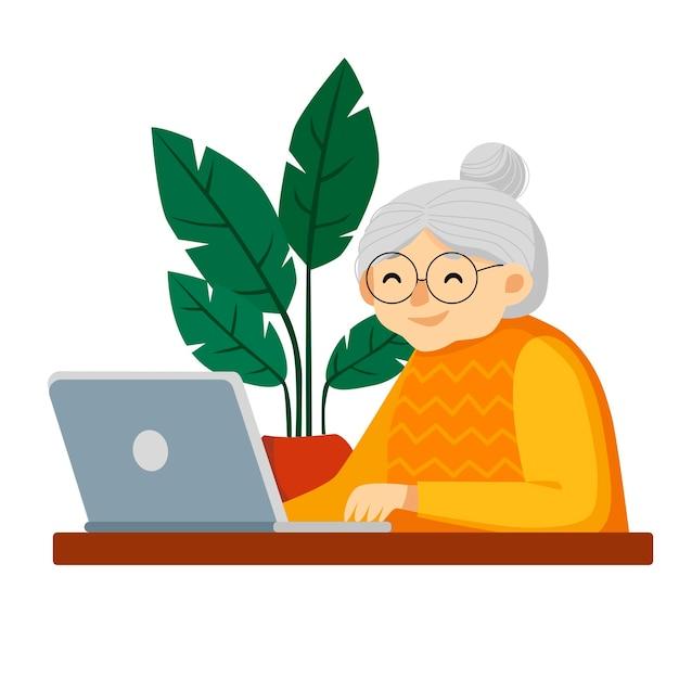 ラップトップで幸せなおばあちゃん