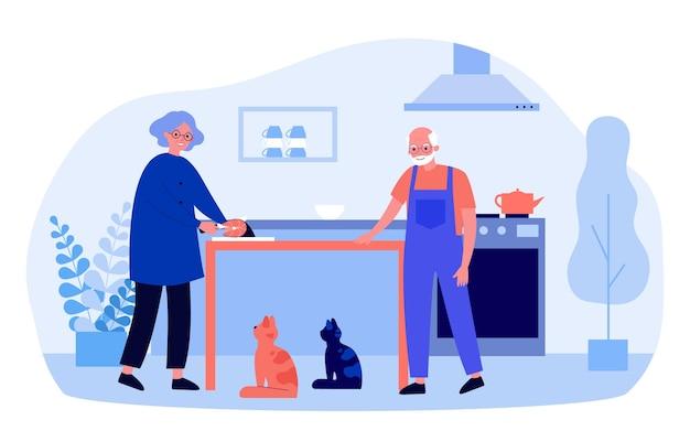 幸せな祖母は台所で猫のために魚を切る。家畜と高齢者のカップル、キッチンインテリアフラットベクトルイラスト。ペット、バナーの年齢コンセプト、ウェブサイトのデザインまたはランディングウェブページ