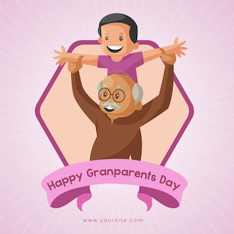 Happy grandparent's day banner design. boy is playing with his grandfather.