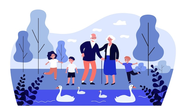 幸せな祖父母と一緒に公園を歩いている子供たちフラットイラスト