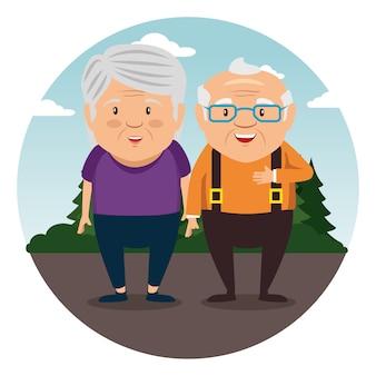 행복 한 조부모 만화