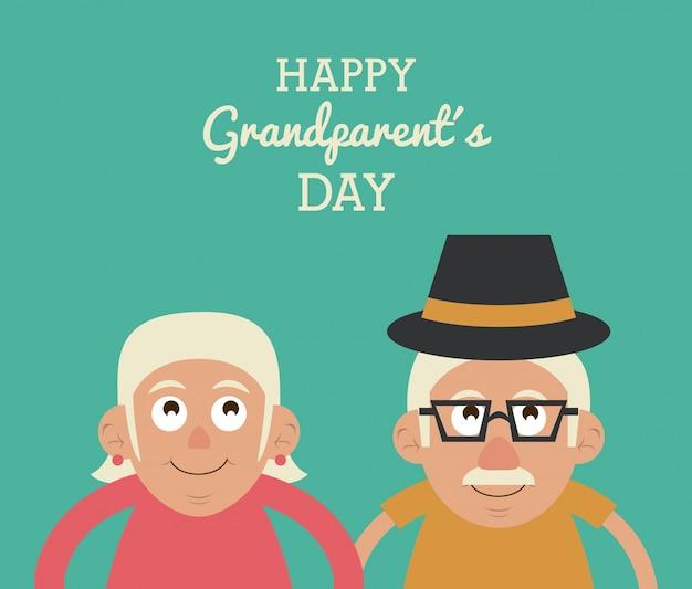 행복 한 조부모의 날과 그 안경 및 모자