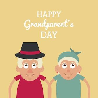 행복한 조부모의 날과 그와 모자