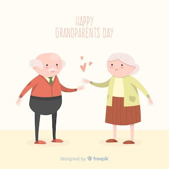 Happy grandparents day background in hand drawn style