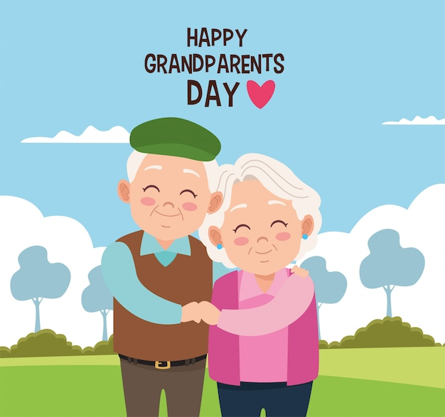 Happy grandparents day card with old couple in camp